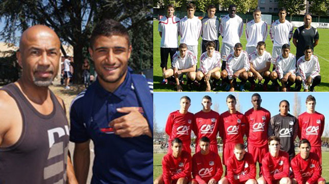 Fekir, junto a Mouangué, cuando ya era jugador del Olympique Lyonnais; a la derecha, dos imágenes de su etapa en el Saint Priest