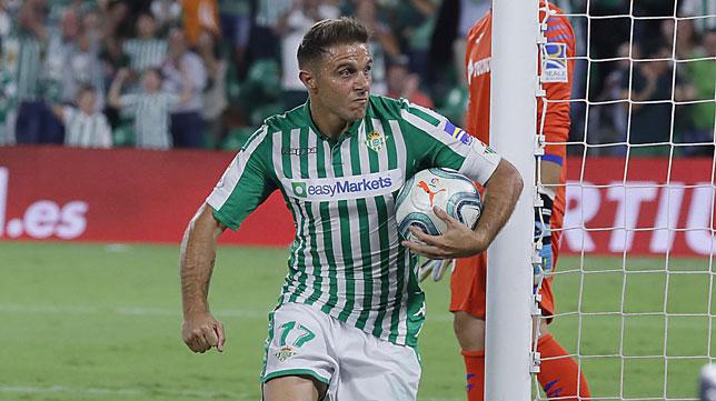 Joaquín celebra su gol ante el Getafe (Raúl Doblado)