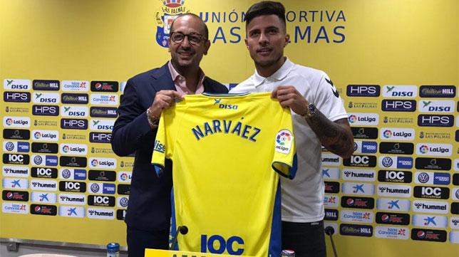 Narváez, durante su presentación con Las Palmas (foto: @UDLP_Oficial)