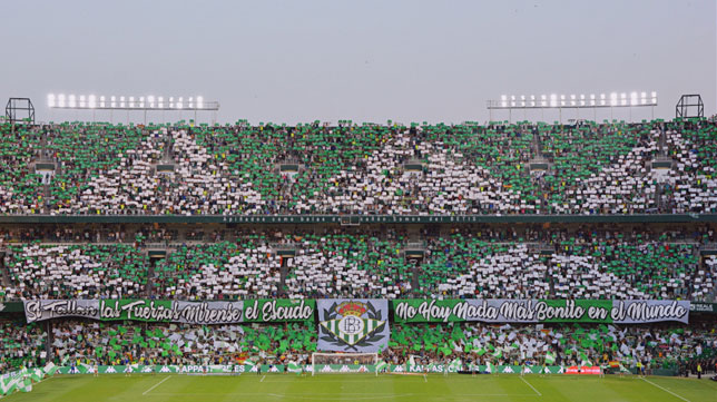 El tifo del derbi Betis-Sevilla de septiembre de 2018 (Foto: Real Betis).