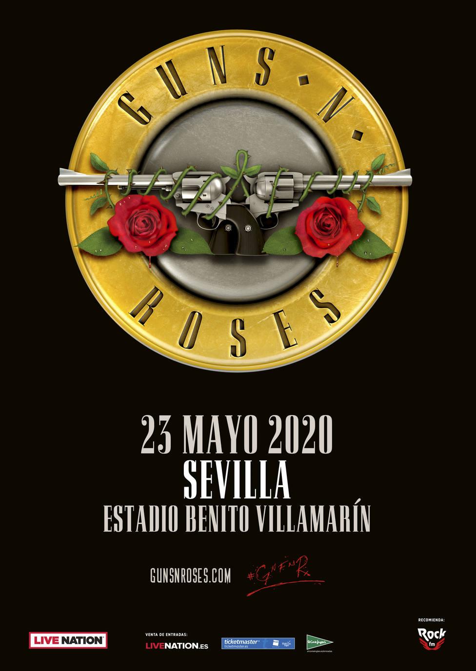 Cartel del concierto de Guns N' Roses en el Benito Villamarín, el próximo 23 de mayo de 2020
