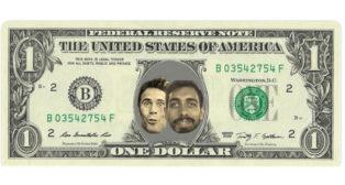 El montaje con billete de un dólar con las caras de Rubi y Borja Iglesias (@carreras_ivan_).