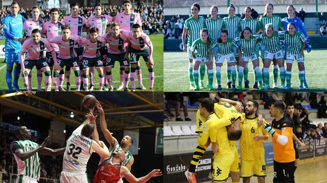 Los equipos del Betis masculino y femenino de fútbol, el equipo de baloncesto y el conjunto del fútbol sala.