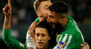 Tello, feliz celebrando su gol al Madrid