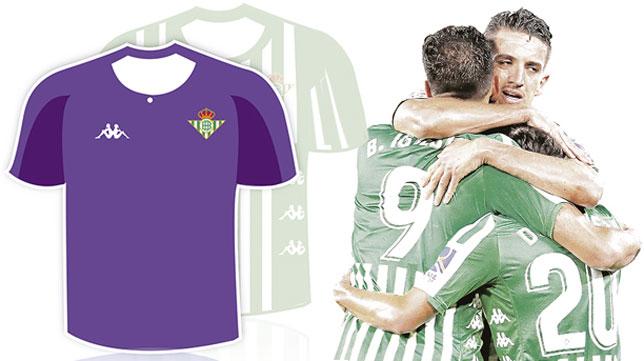 Boceto de la segunda equipación del Betis, de color morado, para la temporada 2020-21.