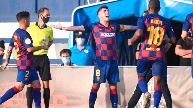 Monchu celebra un gol con el Barcelona B (Foto: FCB)