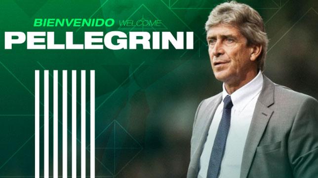 El anuncio oficial de Manuel Pellegrini como nuevo entrenador del Betis.