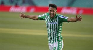 Pedraza celebra su gol, que suponía el 2-0 en el Betis-Osasuna (Foto: Real Betis).