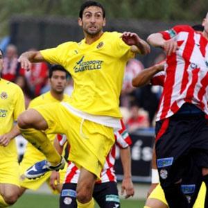 Betis: El jugador villarrealense Marcos, durante un partido
