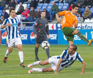 Betis: Jonathan Pereira en el partido frente al Recre en Huelva