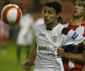 Sevilla FC: David Prieto en un partido de esta campaña
