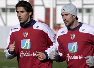 Sevilla FC: Escudé se ejercita junto a Dragutinovic
