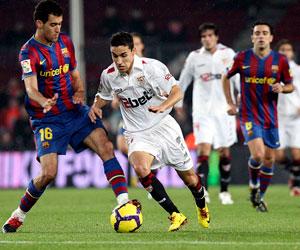 Sevilla: Imagen de uno de los Barça-Sevilla que se jugaron la pasada temporadda