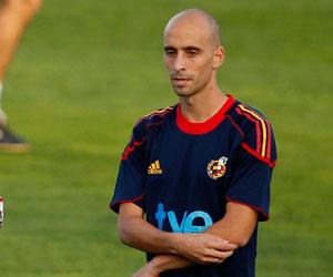 Borja Valero, en un entrenamiento con la selección
