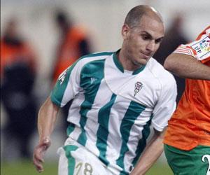 Javi Hervás en un partido con el Córdoba