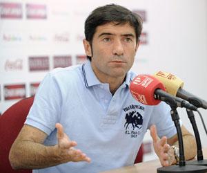 Marcelino, en una rueda de prensa como técnico del Sevilla