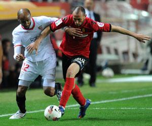 Kanouté, en un lance del partido de ayer ante el Mallorca