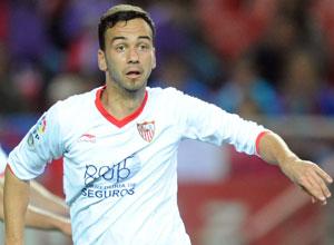 Sevilla FC: Deivid, en un lance del Sevilla-Levante del sábado