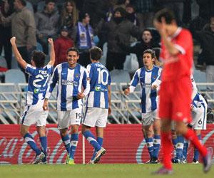 Imagen de la derrota del Sevilla ante la Real Sociedad esta temporada