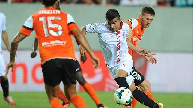 Rabello, en un encuentro ante el Málaga CF