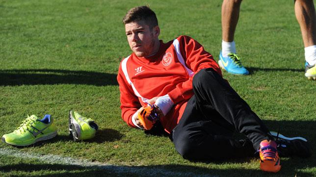 Alberto Moreno, en un entrenamiento