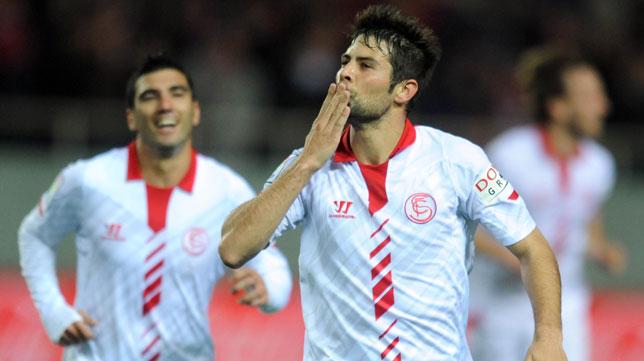 Coke celebra su gol ante el Levante