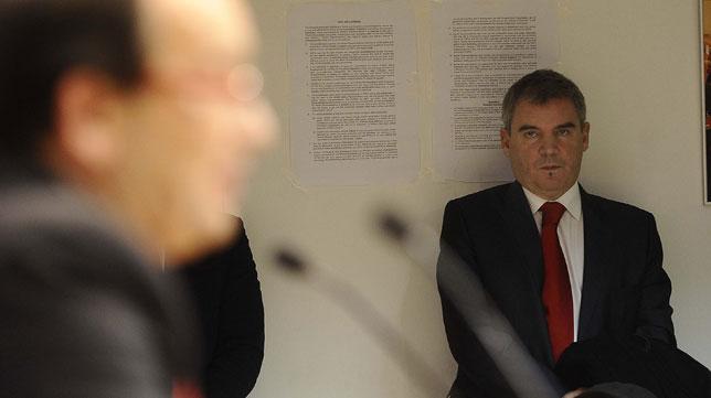 Vizcaíno, en la rueda de prensa de Pepe Castro