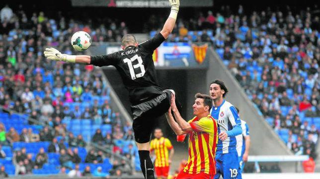 Casilla, en el momento de la expulsión ante Messi