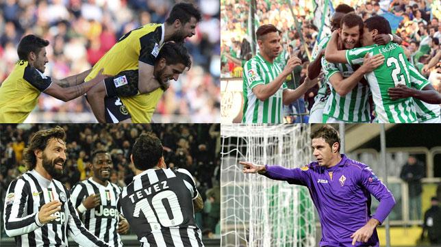 Imágenes de los cuatro equipos que protagonizan las dos eliminatorias más destacadas por UEFA.com