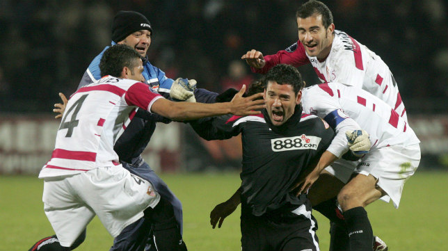 Palop celebra su gol ante el Shakhtar Donetsk