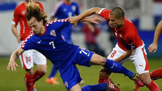 El capitán sevillista en una acción del Suiza-Croacia