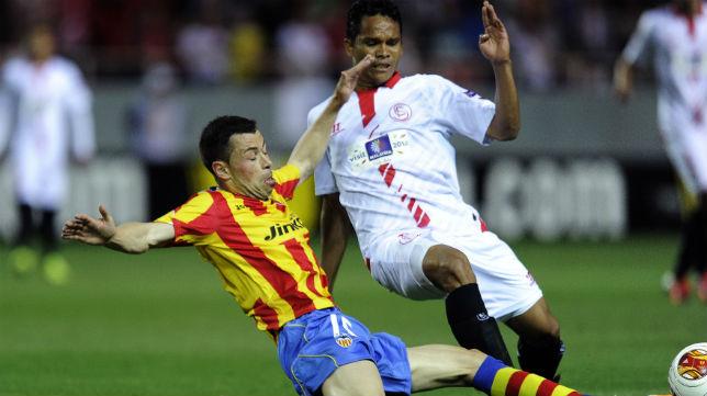 Bacca, en una acción de la semifinal europea con el Valencia