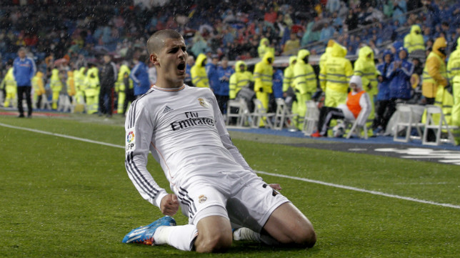 Álvaro Morata celebra su último gol al Rayo