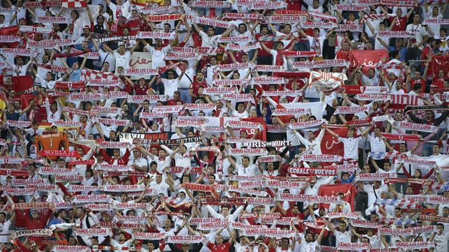 La afición sevillista, en el Juventus Stadium