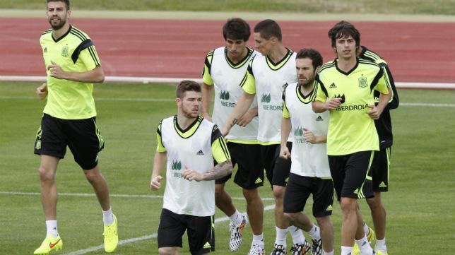 Alberto, en el entrenamiento de la selección de este martes en Las Rozas
