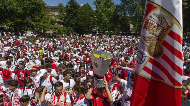 Imagen de la fan zone sevillista en Turín