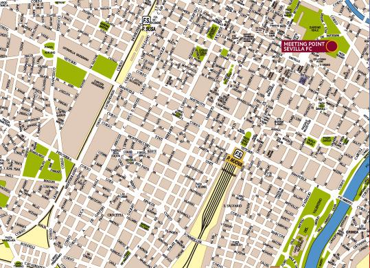 Imagen de la zona en la que se ubicarán los aficionados sevillistas en Turín