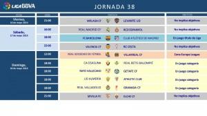 Horarios jornada 38ª de la Liga BBVA