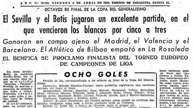 Recorte de ABC, Sevilla 5-Betis 3 (Ida Octavos Copa 1962)