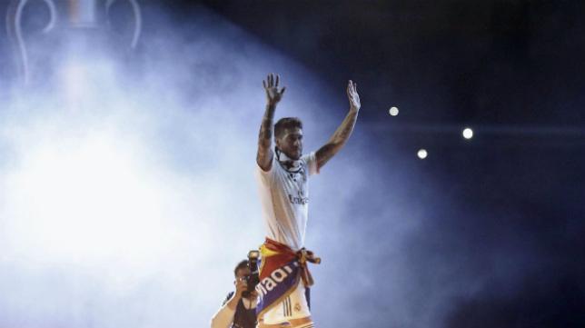 Ramos, durante la celebración del Madrid por la Décima