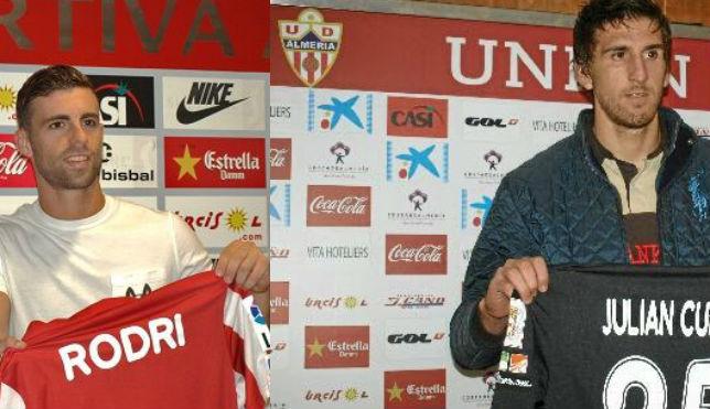Rodri, delantero, y Julián, portero, del Almería, elogiaron a Aleix Vidal