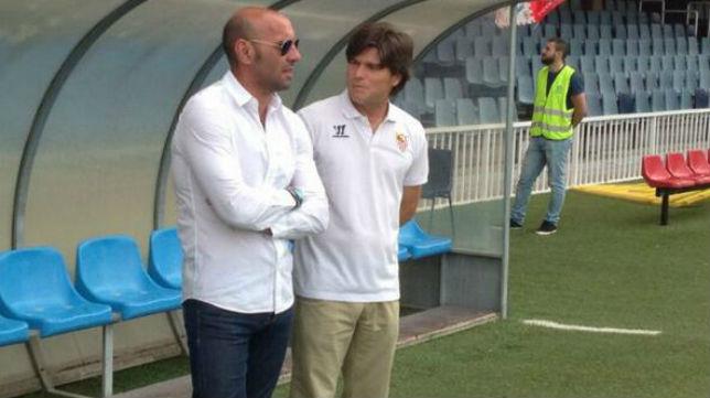 Monchi no se ha querido perder el partido del equipo juvenil en Barcelona . Foto: Sevilla F.C.