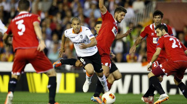 Carriço, Coke y Pareja en un partido ante el Valencia