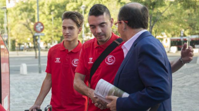 Los recientes fichajes Iago Aspas y Denis Suárez junto con el presidente, Pepe Castro
