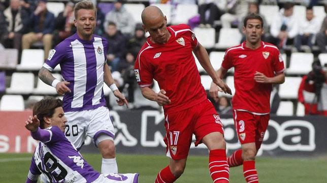 Javi Hervás, en un partido con el Sevilla frente al Valladolid