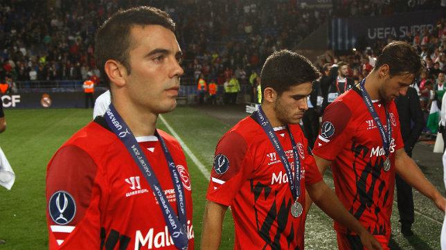 Aspas, Jairo y Krychowiak, tras la final de Cardiff
