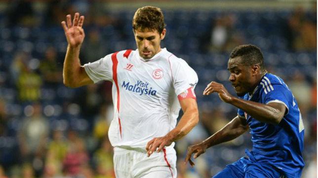 Fazio, en un partido de con el Sevilla FC