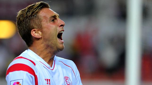 Deulofeu celebra un gol a la Real Sociedad