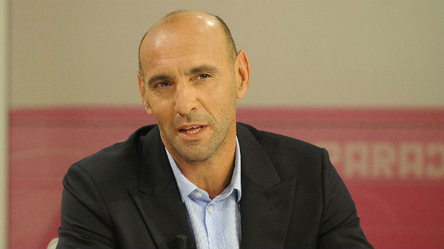 Monchi, durante una entrevista en la televisión del club