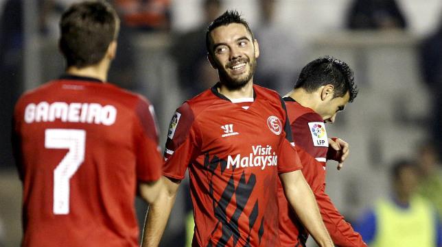 Aspas, en un lance del partido ante el Sabadell